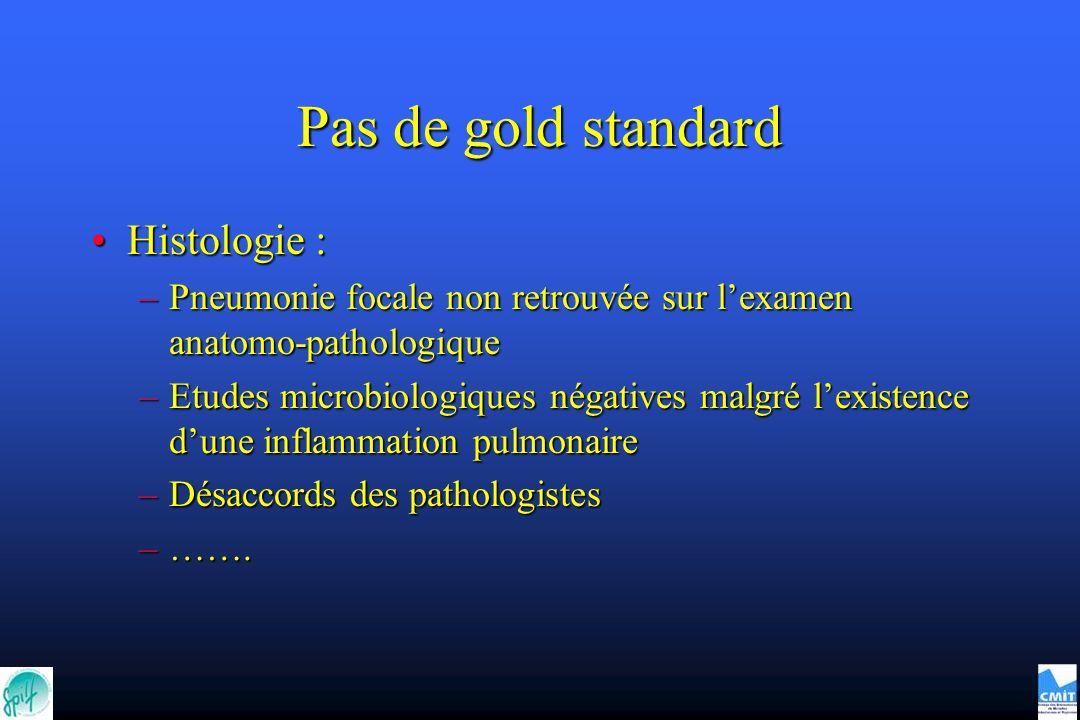 Pas de gold standard Histologie :