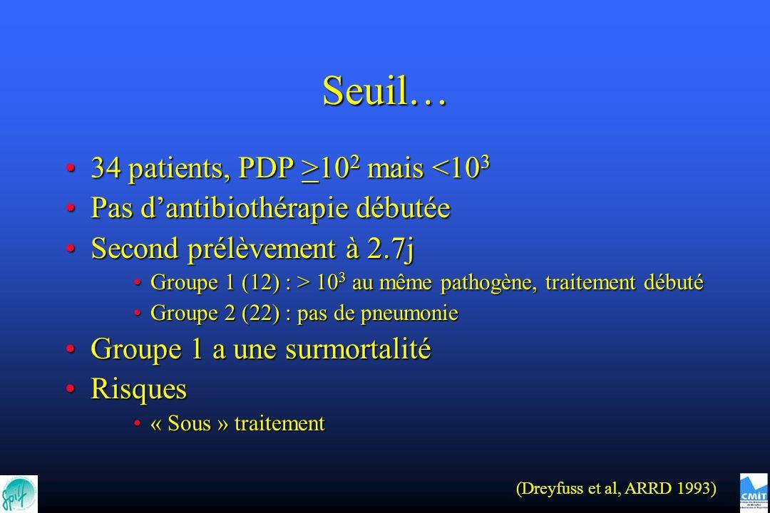 Seuil… 34 patients, PDP >102 mais <103
