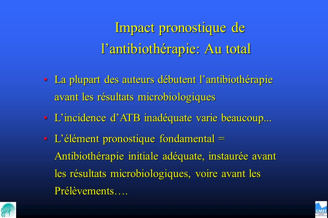 l'antibiothérapie: Au total