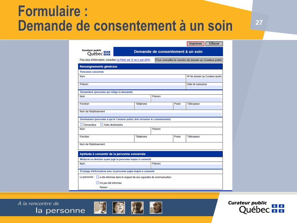 Formulaire : Demande de consentement à un soin