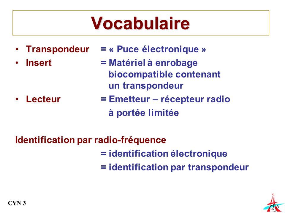 Vocabulaire Transpondeur = « Puce électronique »