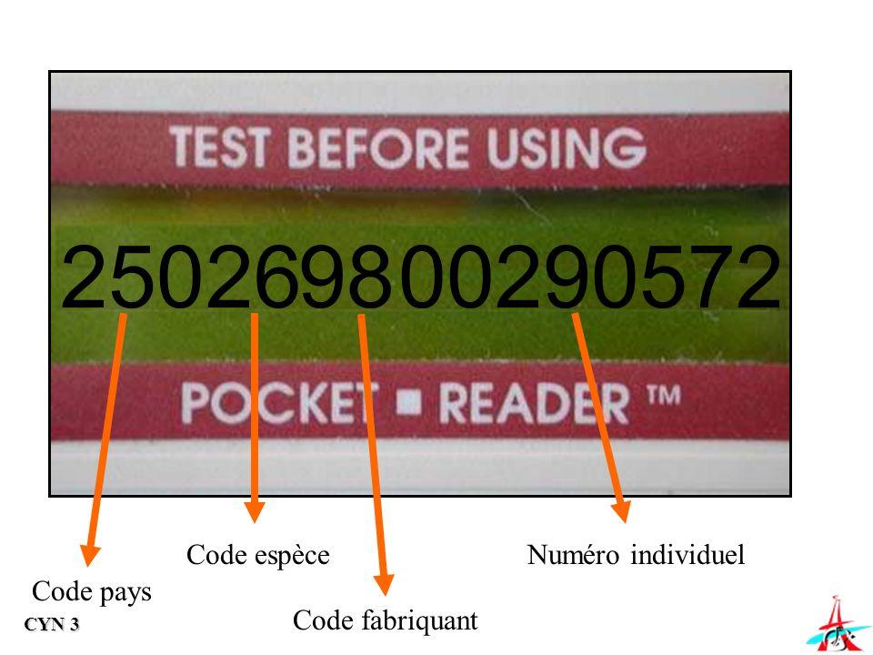250 26 98 00290572 Code espèce Numéro individuel Code pays