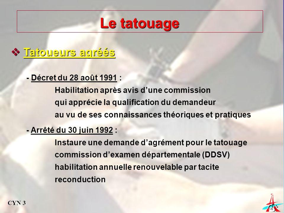 Le tatouage Tatoueurs agréés - Décret du 28 août 1991 :