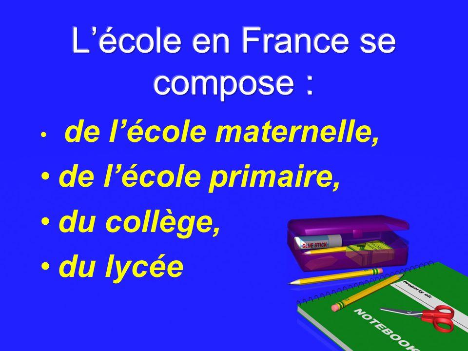 L'école en France se compose :