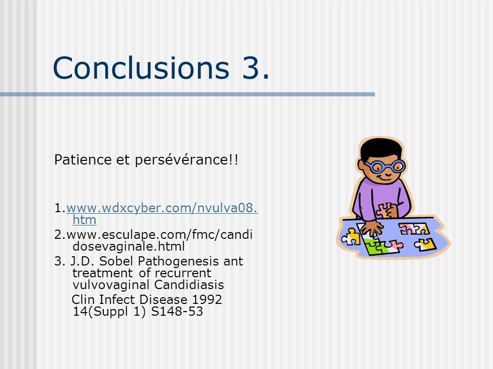 Conclusions 3. Patience et persévérance!!
