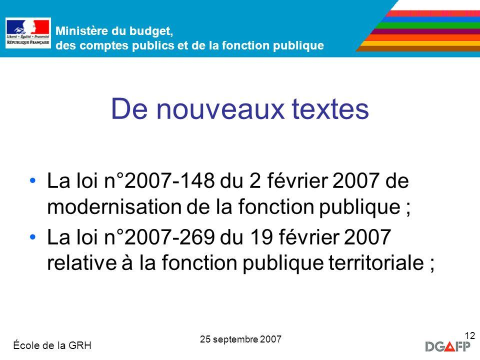 De nouveaux textes La loi n°2007-148 du 2 février 2007 de modernisation de la fonction publique ;