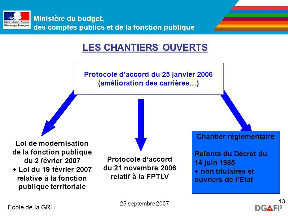 LES CHANTIERS OUVERTS Protocole d'accord du 25 janvier 2006