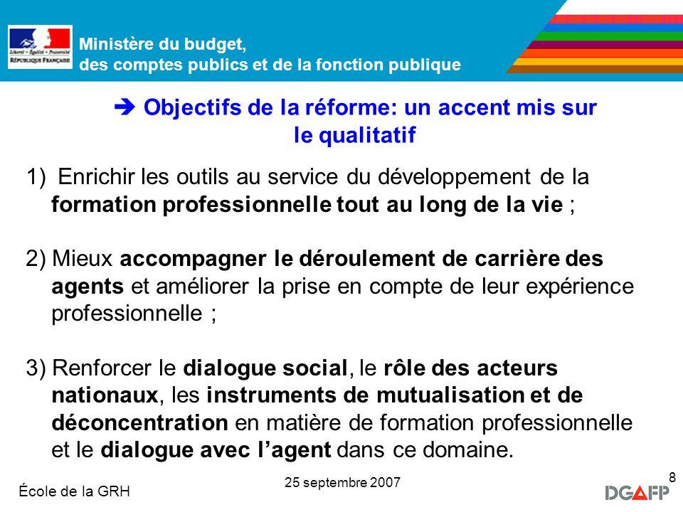  Objectifs de la réforme: un accent mis sur le qualitatif