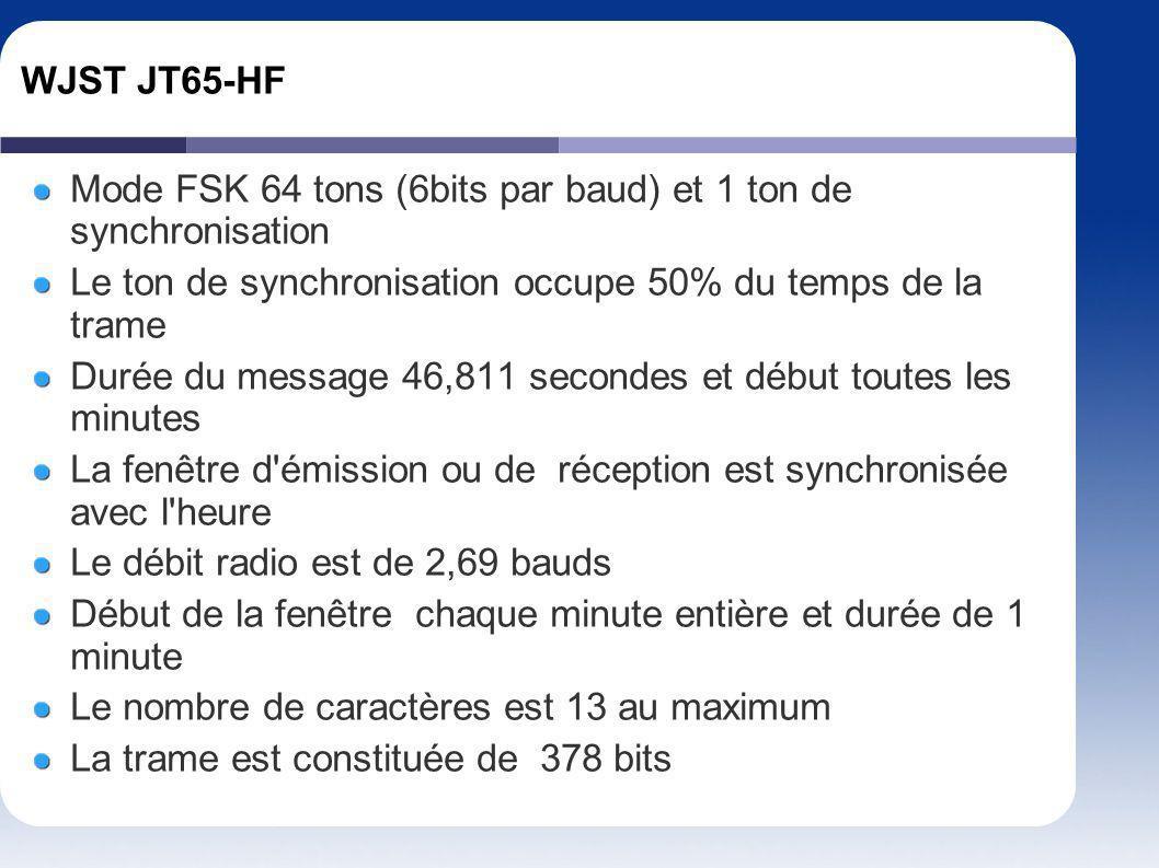 WJST JT65-HF Mode FSK 64 tons (6bits par baud) et 1 ton de synchronisation. Le ton de synchronisation occupe 50% du temps de la trame.