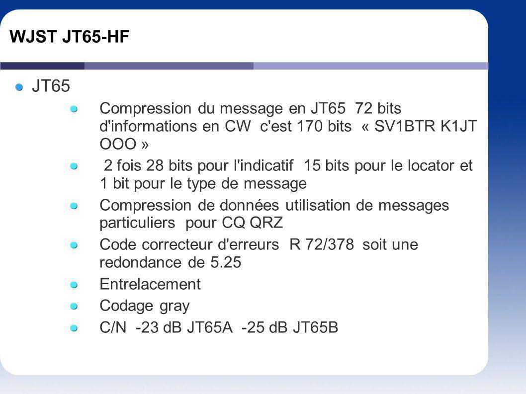 WJST JT65-HF JT65. Compression du message en JT65 72 bits d informations en CW c est 170 bits « SV1BTR K1JT OOO »