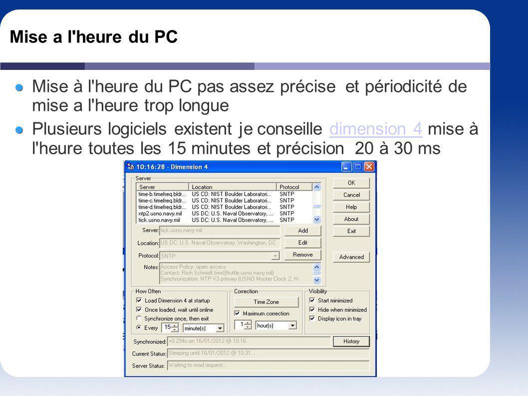 Mise a l heure du PC Mise à l heure du PC pas assez précise et périodicité de mise a l heure trop longue.
