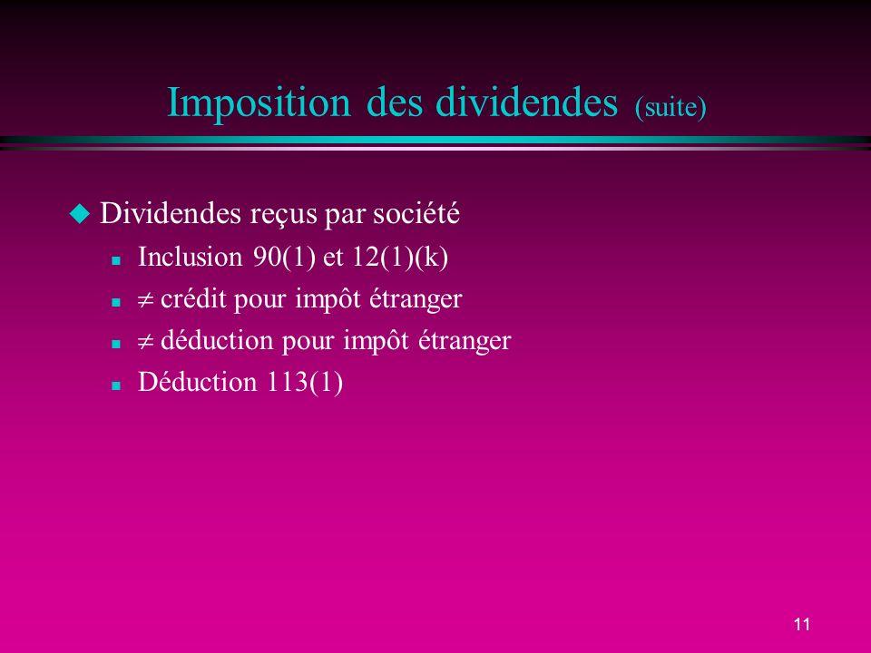Imposition des dividendes (suite)