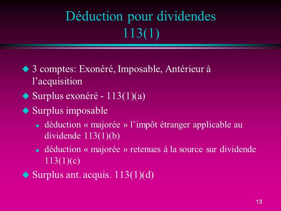 Déduction pour dividendes 113(1)