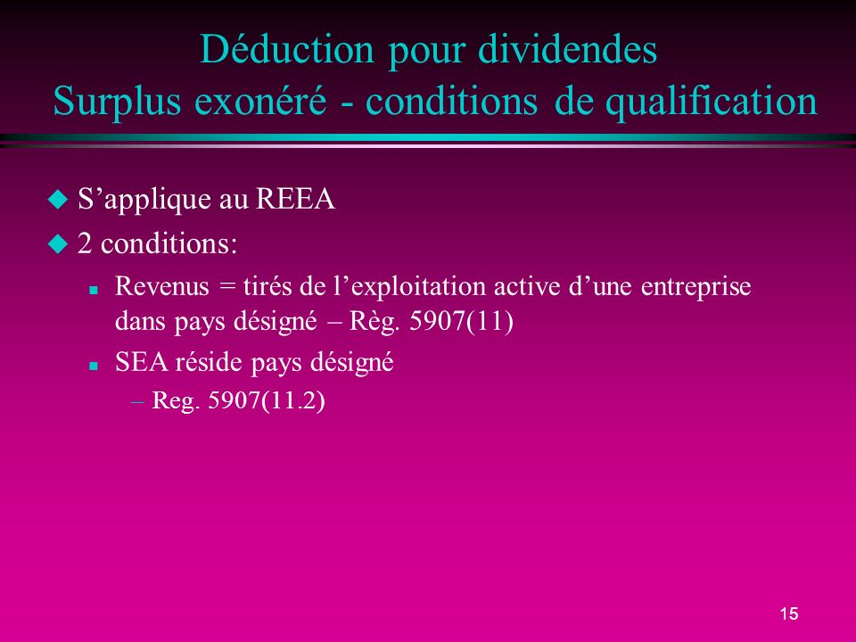 Déduction pour dividendes Surplus exonéré - conditions de qualification