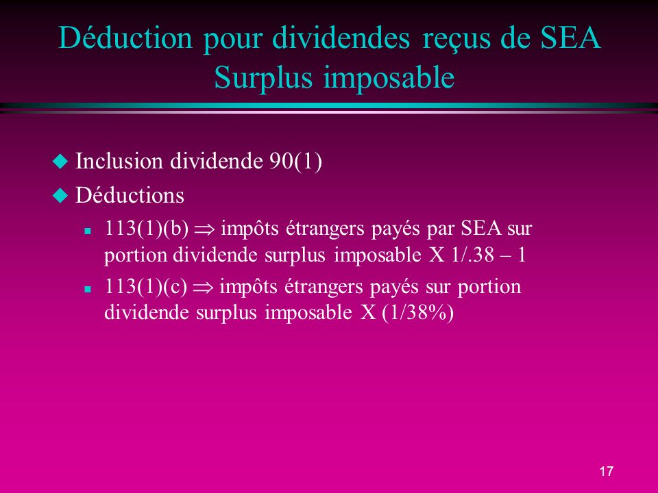 Déduction pour dividendes reçus de SEA Surplus imposable