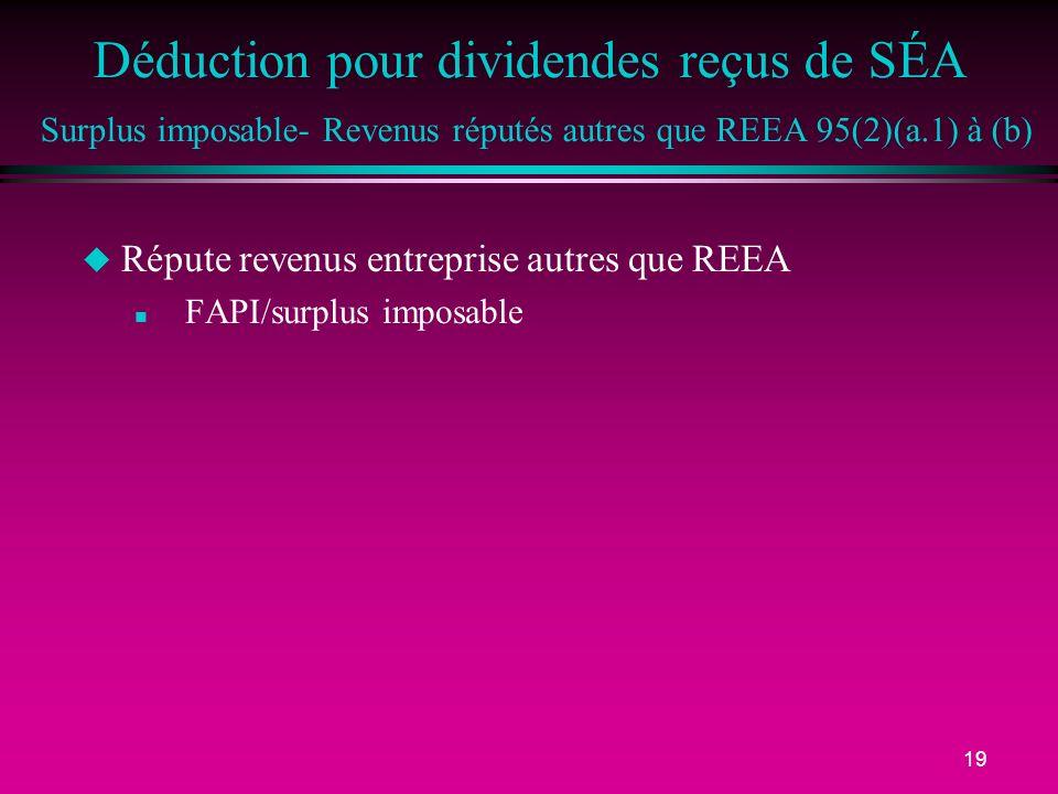 Déduction pour dividendes reçus de SÉA Surplus imposable- Revenus réputés autres que REEA 95(2)(a.1) à (b)
