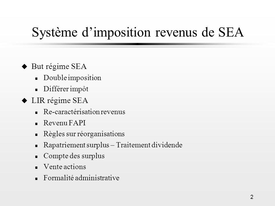 Système d'imposition revenus de SEA