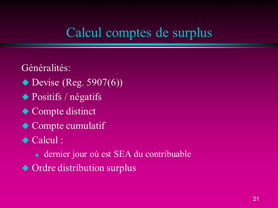 Calcul comptes de surplus