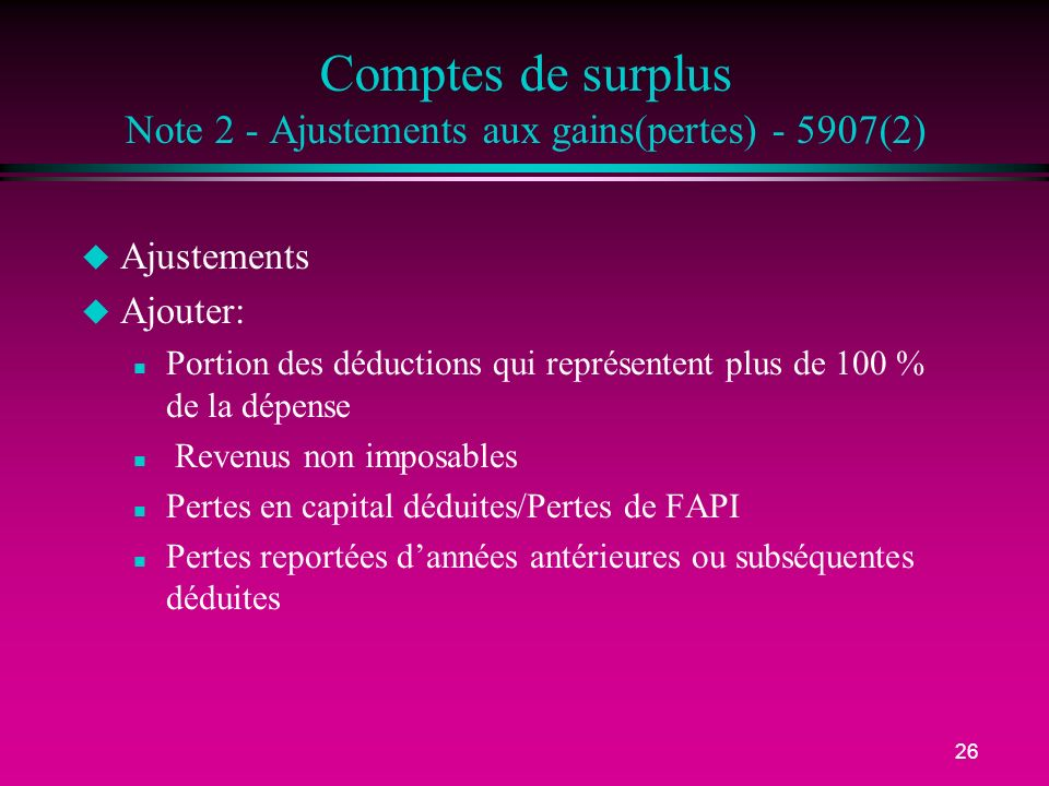 Comptes de surplus Note 2 - Ajustements aux gains(pertes) - 5907(2)