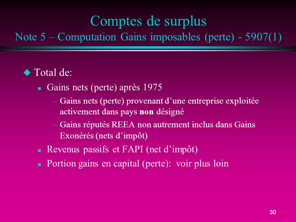 Comptes de surplus Note 5 – Computation Gains imposables (perte) - 5907(1)