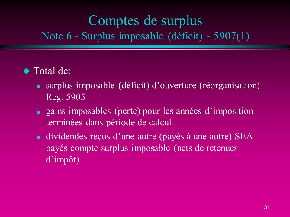 Comptes de surplus Note 6 - Surplus imposable (déficit) - 5907(1)