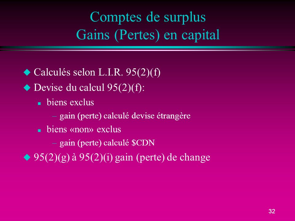 Comptes de surplus Gains (Pertes) en capital