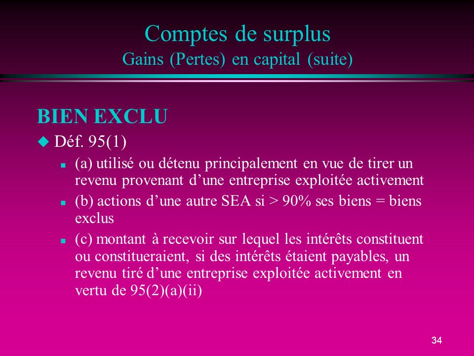 Comptes de surplus Gains (Pertes) en capital (suite)
