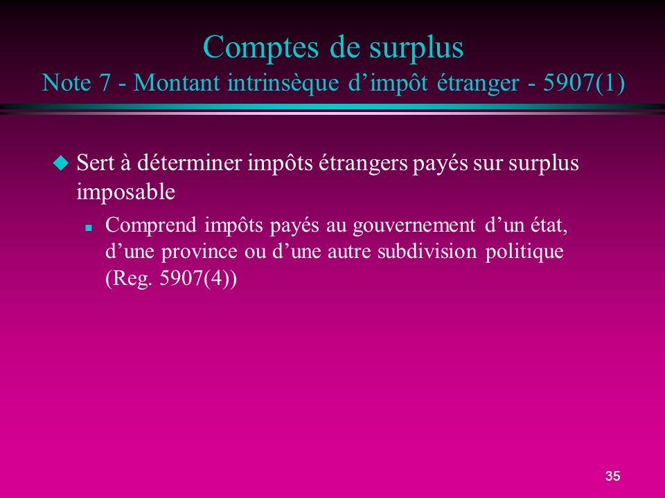 Comptes de surplus Note 7 - Montant intrinsèque d'impôt étranger - 5907(1)