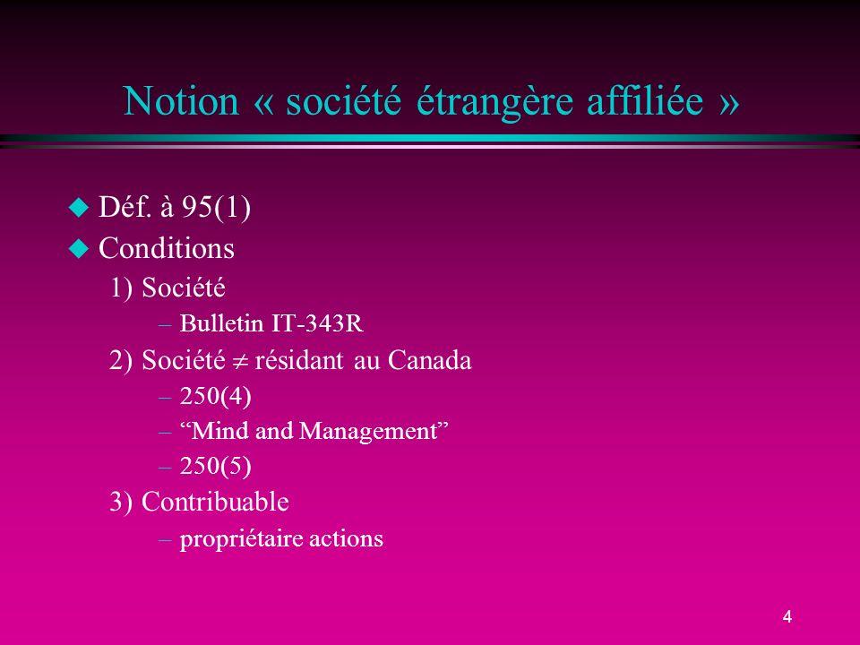Notion « société étrangère affiliée »