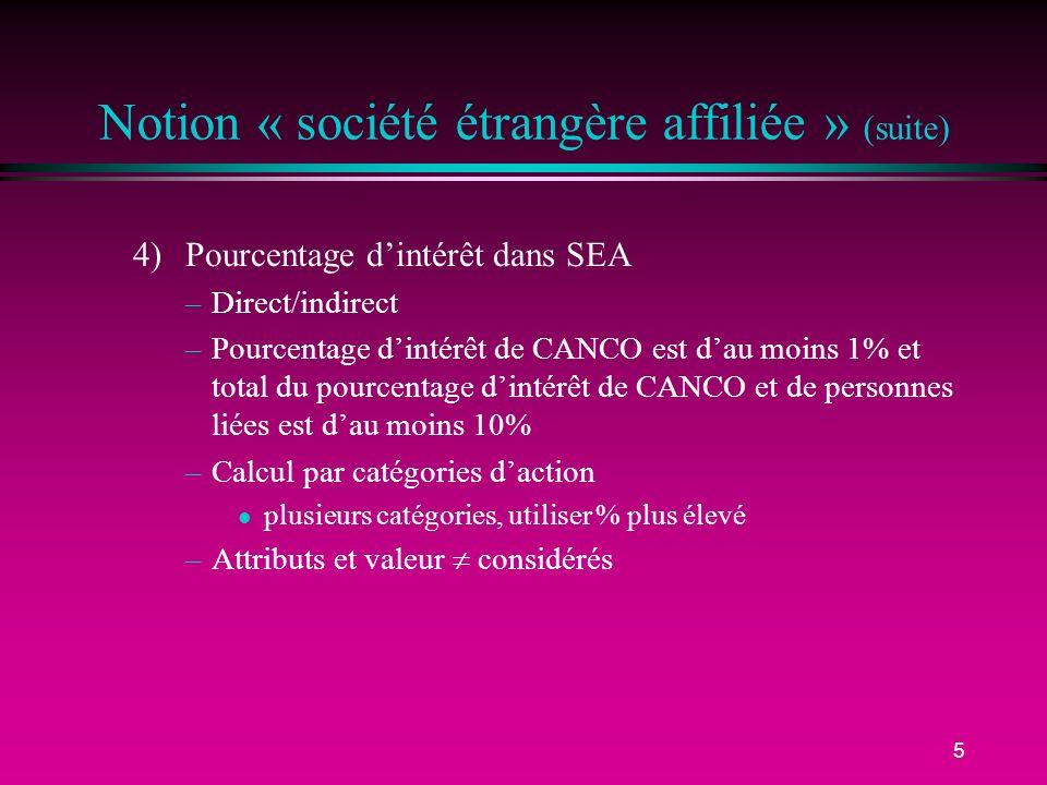 Notion « société étrangère affiliée » (suite)