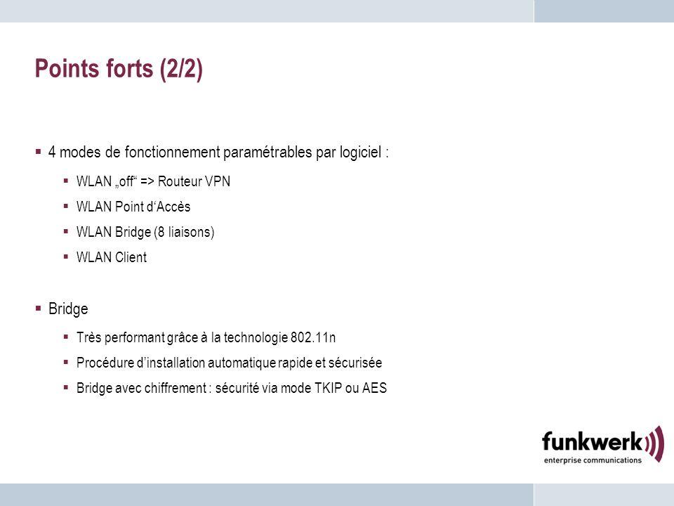 """Points forts (2/2) 4 modes de fonctionnement paramétrables par logiciel : WLAN """"off => Routeur VPN."""