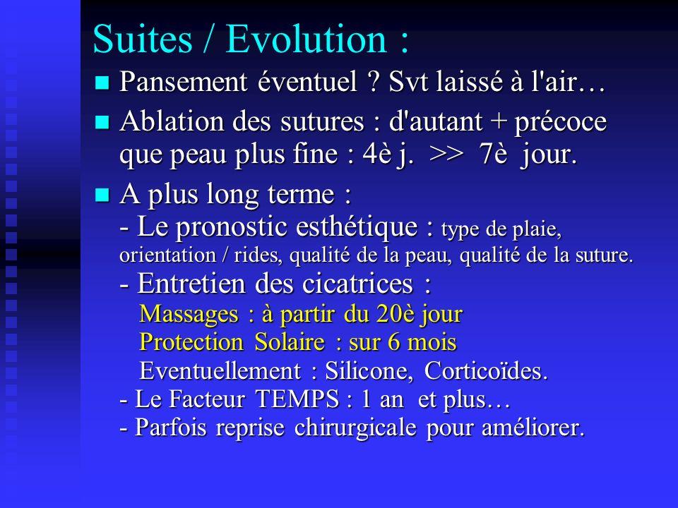 Suites / Evolution : Pansement éventuel Svt laissé à l air…