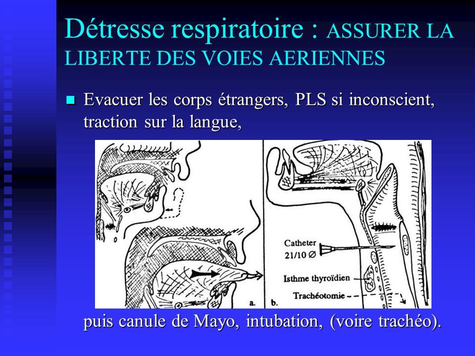 Détresse respiratoire : ASSURER LA LIBERTE DES VOIES AERIENNES