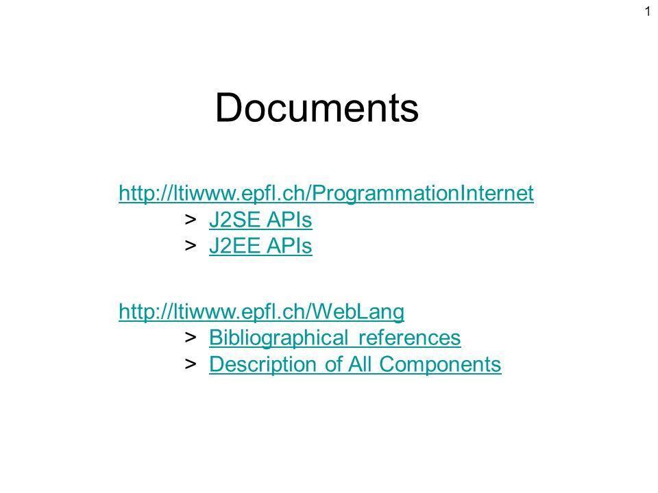 Documents http://ltiwww.epfl.ch/ProgrammationInternet > J2SE APIs > J2EE APIs.