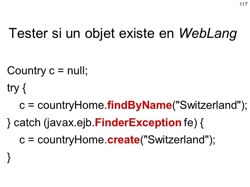Tester si un objet existe en WebLang