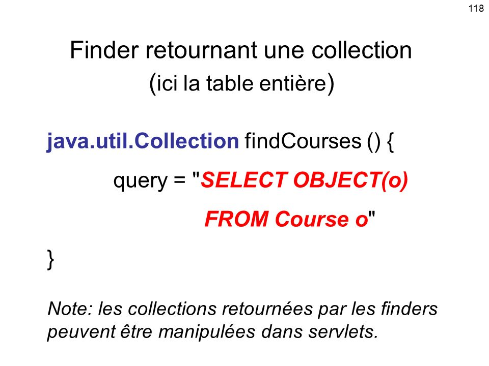 Finder retournant une collection