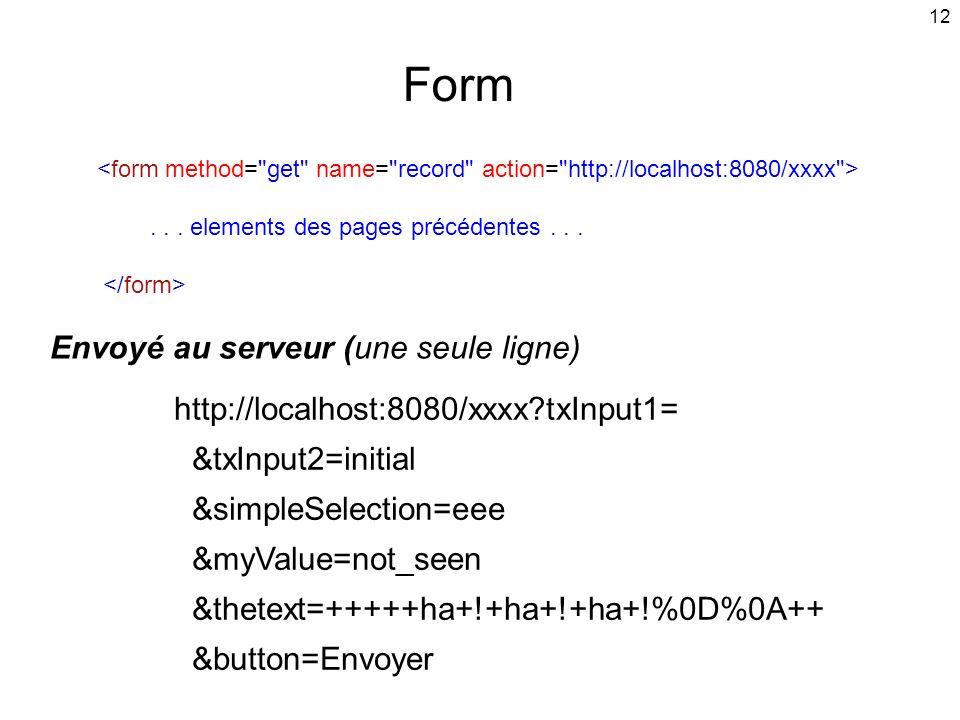 Form Envoyé au serveur (une seule ligne)