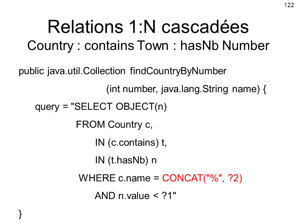 Relations 1:N cascadées Country : contains Town : hasNb Number