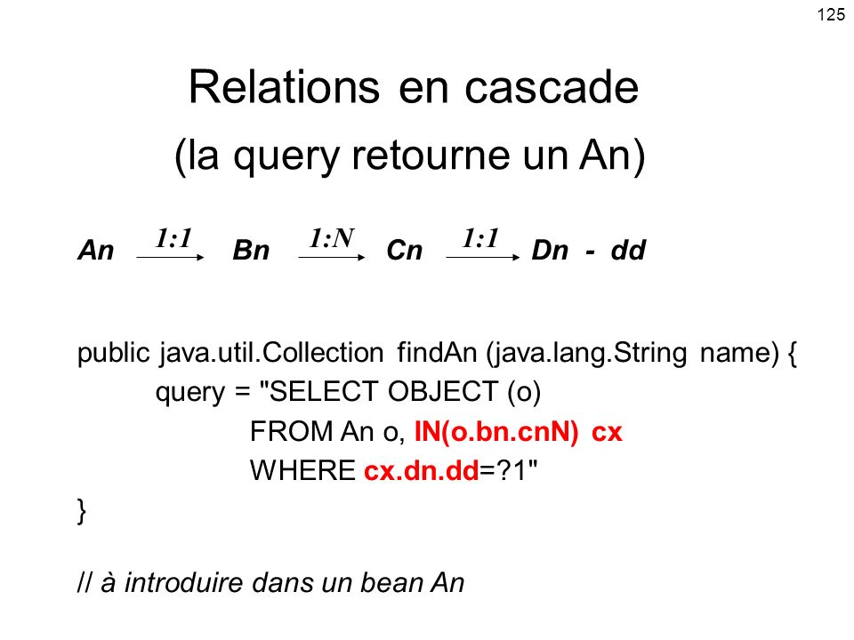 Relations en cascade (la query retourne un An)