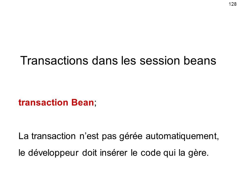 Transactions dans les session beans