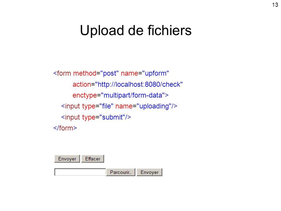 Upload de fichiers <form method= post name= upform