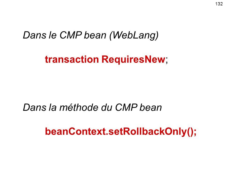 Dans le CMP bean (WebLang)
