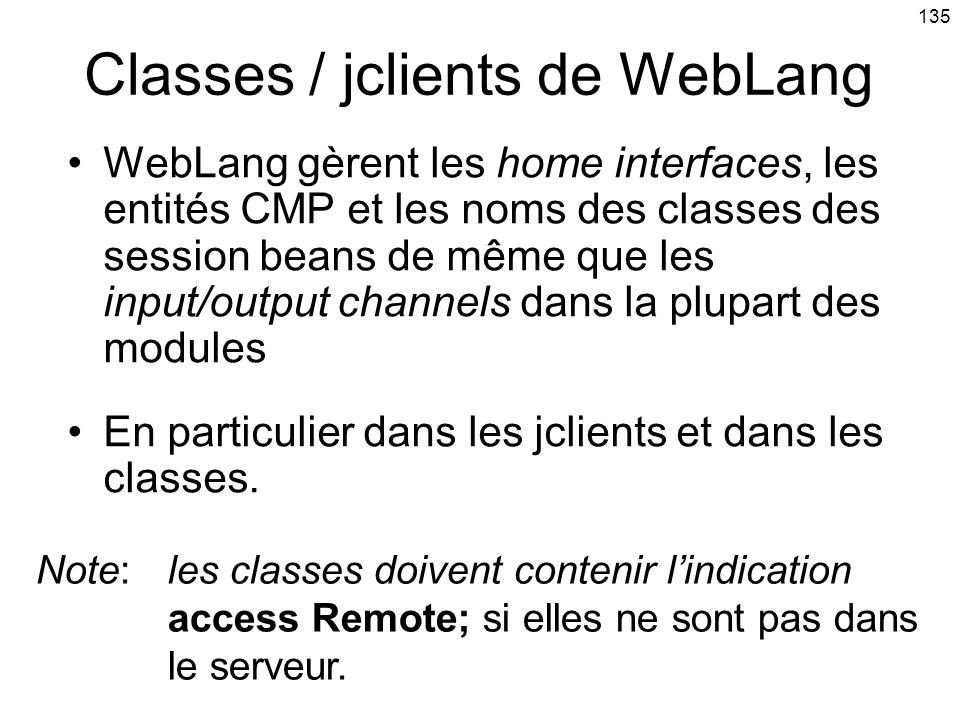 Classes / jclients de WebLang