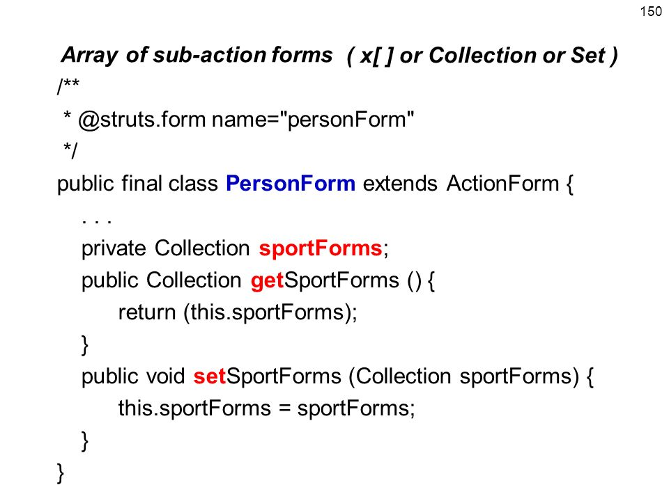 Array of sub-action forms