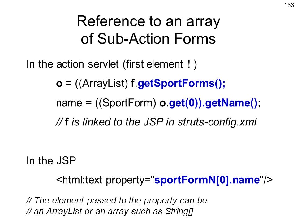 Reference to an array of Sub-Action Forms