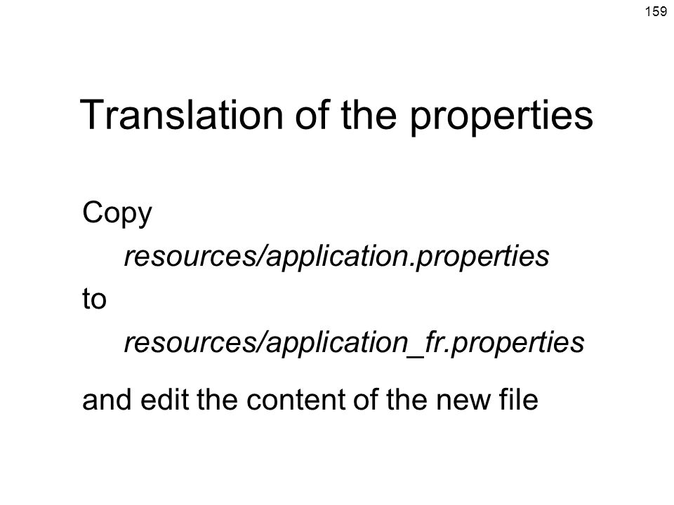 Translation of the properties