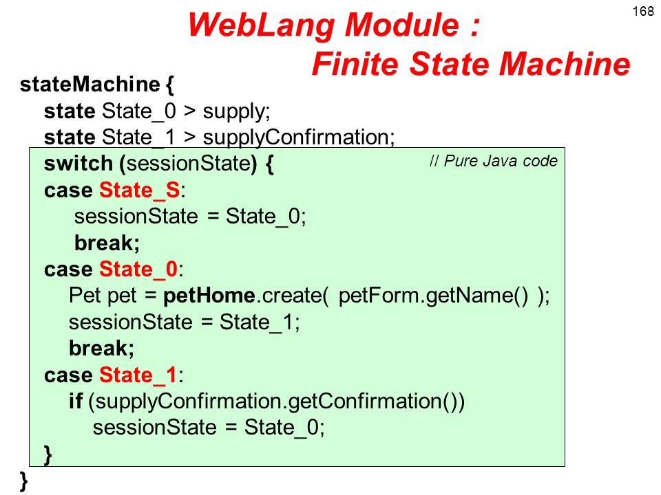 WebLang Module : Finite State Machine