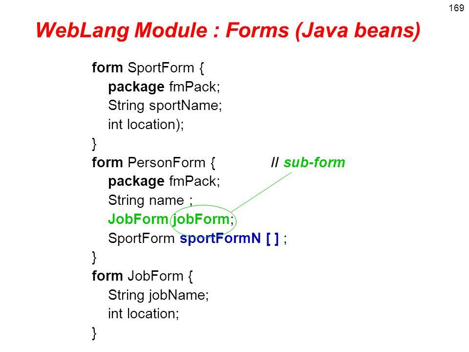 WebLang Module : Forms (Java beans)