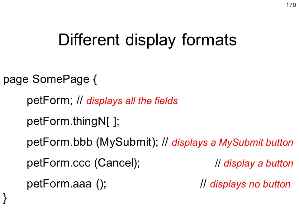 Different display formats