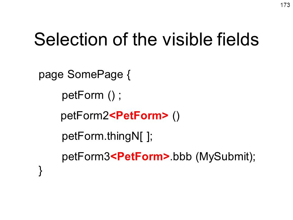 Selection of the visible fields